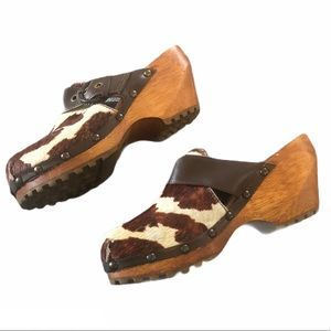 Calfskin Lather Mule Wooden Clogs Size 36 US 6